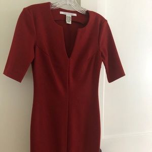 DVF wool blend red sheath dress in burnt red color